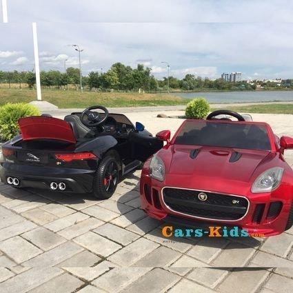 Электромобиль Jaguar F-Type черный (колеса резина, сиденья кожа, пульт, музыка)