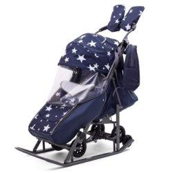 Санки-коляски Pikate Звезды «Синий» (материал «Dewspoo» плотностью 240 D, овчина, 3 положения спинки, краска рамы темно-серый)