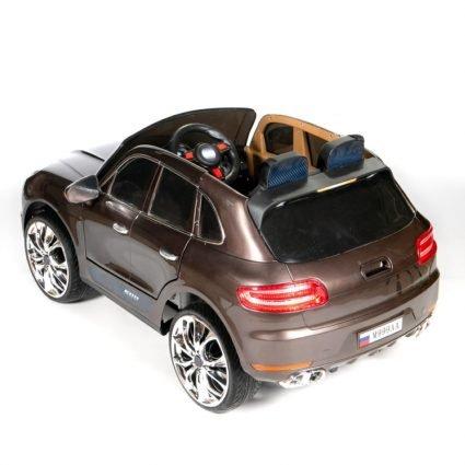 Электромобиль Porsche Macan M999AA коричневый (резиновые колеса, кресло кожа, пульт, музыка)